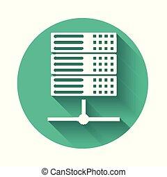 weißes, server, daten, netzbewirtung, ikone, freigestellt, mit, langer, shadow., grün, kreis, button., vektor, abbildung