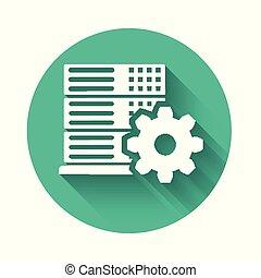 weißes, server, einstellung, ikone, freigestellt, mit, langer, shadow., grün, kreis, button., vektor, abbildung