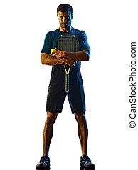 weißes, silhouette, tennis, fällig, freigestellt, spieler, hintergrund, mann, schatten