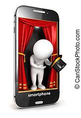 weißes, smartphone, 3d, buehne, leute
