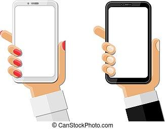 weißes, smartphones, freigestellt, halten hände