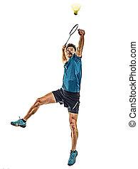 weißes, spieler, freigestellt, hintergrund, mann, junger, badminton