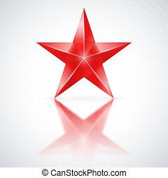 weißes, stern, roter hintergrund