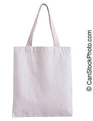 weißes, stoff, tasche, freigestellt, weiß, hintergrund, mit,...
