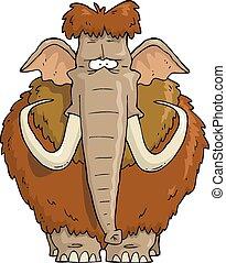 weißes, struppig, mammut, hintergrund