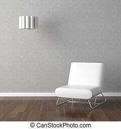 weißes, stuhl, und, lampe, auf, grau