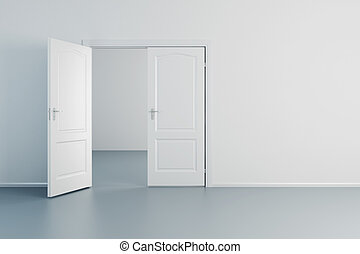 weißes, tür, zimmer, leerer , geöffnet