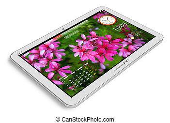 weißes, tablette pc