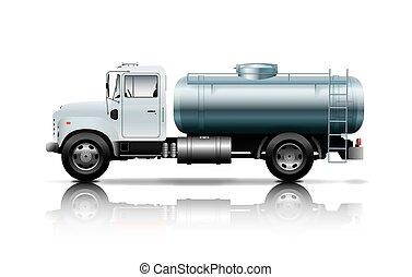 weißes, tankerlastwagen