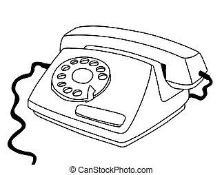 weißes, telefon, hintergrund, zeichnung