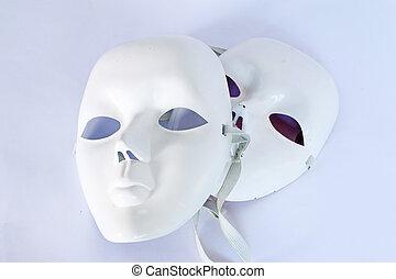 weißes, theatralisch, maske