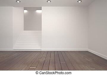 weißes, treppe, zimmer
