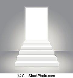 weißes, treppenaufgang, öffnen, door., vektor