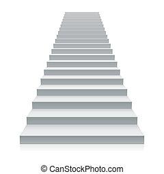 weißes, treppenaufgang