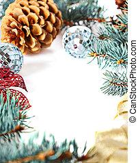 weißes, umrandungen, freigestellt, dekorationen, weihnachten