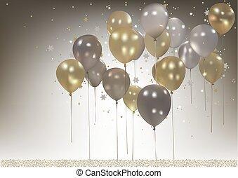 weißes, und, gold, party, luftballone, hintergrund