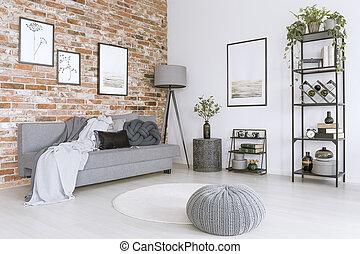 Weißes, Und, Graue , Wohnzimmer