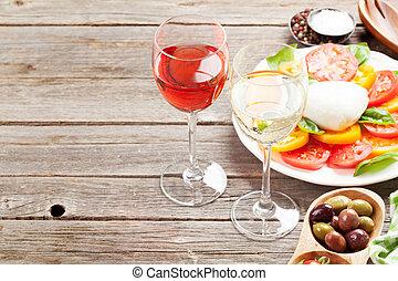 weißes, und, rose wein, brille, mit, caprese salat