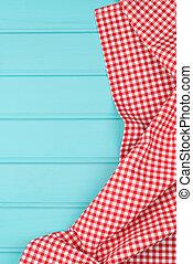 weißes, und, rotes , handtuch, aus, hölzern, tabulator