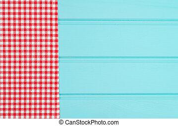 weißes, und, rotes , handtuch, aus, holztisch