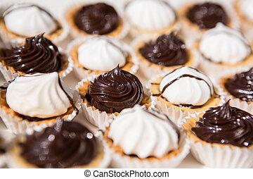 weißes, und, schwarz, meringe, cookies.