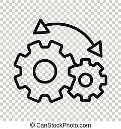 weißes, vektor, geschaeftswelt, workflow, abbildung, wohnung, ikone, concept., freigestellt, hintergrund., organisation, prozess, effektiv, ausrüstung, style.
