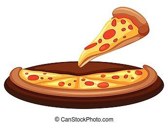 weißes, vektor, hintergrund, pizza
