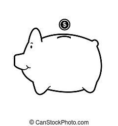 weißes, vektor, isolieren, Schweinchen,  bank