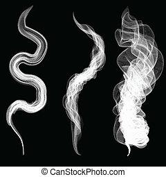 weißes, vektor, schwarzer hintergrund, rauchwolken