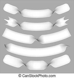 weißes, vektor, verbogen, bannners, verdreht