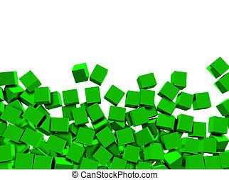 weißes, würfel, grüner hintergrund, 3d