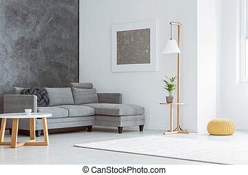weißes, wohnzimmer, graue , akzent
