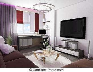 Wohnzimmer, inneneinrichtung, weiß rot, 3d. Wohnzimmer, render ...
