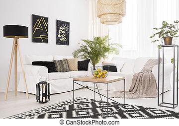 weißes, wohnzimmer