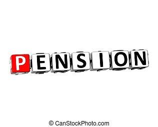 weißes, wort, pension, hintergrund, 3d