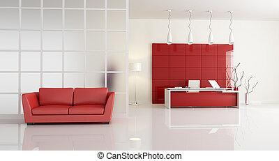 weißes, zeitgenössisches büro, rotes