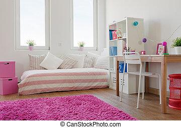 weißes zimmer, mit, rosa, teppich