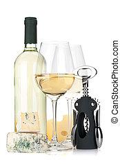 weißwein, flasche, zwei, brille, kã¤se, und, korkenzieher