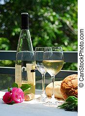 weißwein, mit, brille, draußen