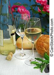 weißwein, mit, brille