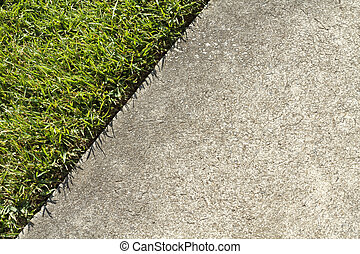 wei, beton, rand, groene, ontmoeten, trottoir, gras