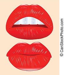 weiblich, lippen, rotes