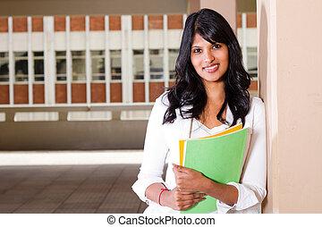 weibliche , akademiker, auf, campus