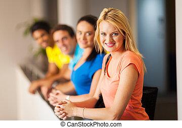 weibliche , akademiker, mit, friends