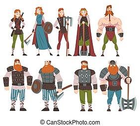 weibliche , alte waffe, mittelalterlich, ausrüstung, abbildung, traditionelle , draccar, charaktere, vektor, satz, stil, mann, skandinavisch, mythologie, vikings, karikatur, krieger