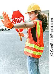 weibliche , arbeiter, leitet, verkehr