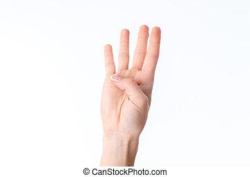 weibliche , auf, ausstellung, freigestellt, hand, vier, finger, ausgedehnt, hintergrund, weißes