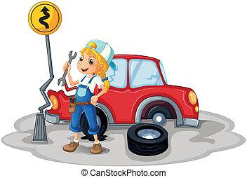 weibliche , autounfall, mechaniker