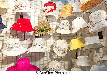 weibliche , bunte, hüte, sommer
