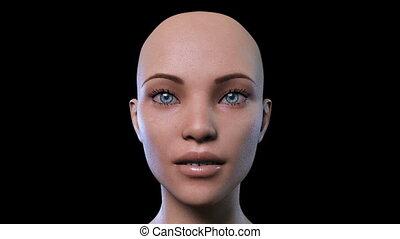 weibliche , digitale animation, gesicht, morphing, 3d
